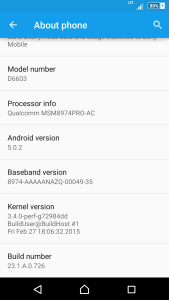 rogers sony z3 lollipop build number