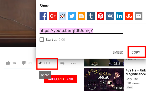 how to share a youtube video