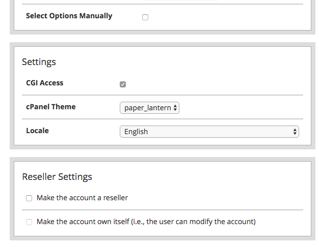 cpanel account settings setup