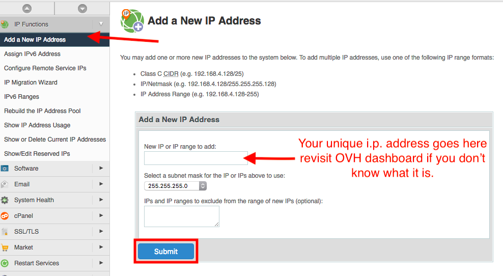 add ip address cpanel whm ovh