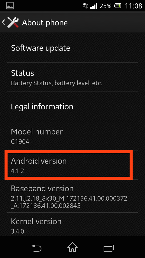 menu with a black background listing the device information and a red box highlights the Android Version information