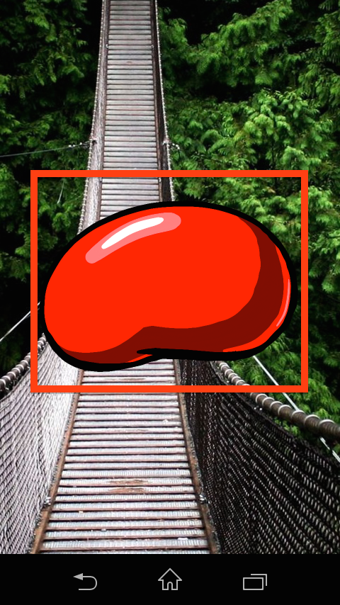 a red jelly bean appears on the currently set background for the mobile phone and navigation items at the bottom