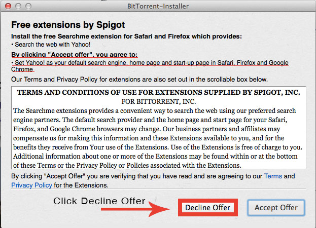 installing bittorrent and declining offers