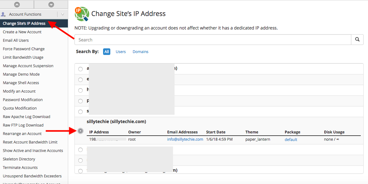 change domain ip address whm
